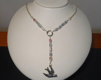 """Beaded """"Y"""" necklace with bird pendant"""