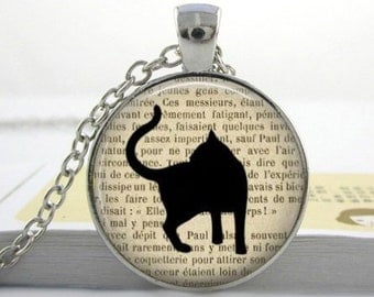 Spring Kitty Cat #4 on Print Handmade Vintage Boho Silver Glass Pendant Necklace. Jewellery Gift for Women, Girlfriend, Wife, Fiancee, Girl.