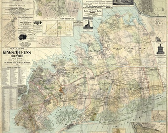 1886 Map of Kings and Queens County New York