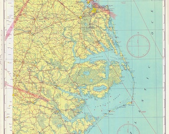 1935 Nautical Map of Norfolk & US East Coast