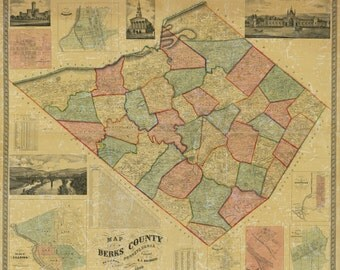 1860 Map of Berks County Pa Reading LARGE 35 x 40 Map