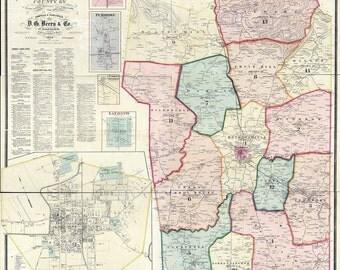 1878 Map of Christian County Kentucky Hopkinsville