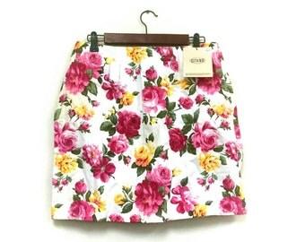 1992 Floral GITANO cotton mini skirt // 90s grunge floral mini skirt // 1990s floral style vintage skirt // 1990s floral skirt