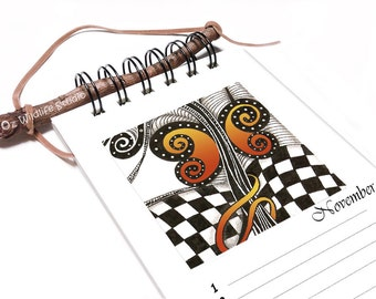 Perpetual Calendar - Fly Free - Zentangle-Inspired