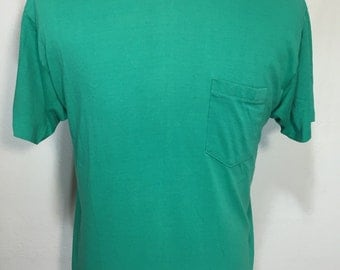 80's vintage pocket t shirt made in usa size XL 50/50 blend