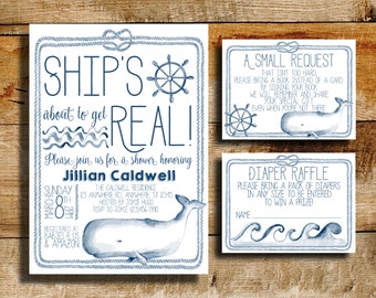 Nautical baby shower invitation | baby shower | ship's about to get real!