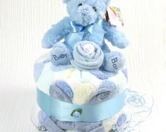 Poppet nappy cake - blue