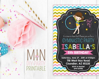 Gymnastic Birthday Party Invitation 3,GYMNASTIC Birthday Invitation, Printable Gymnastics invitation, Gymnastic Invite, Gymnastic Party