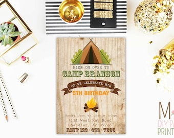 Camping Party Invitation,Camping Invitation, Camping Invite, Glamping Invitation, Girls Camping Invitation, Glamping Invite