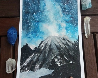 Blue mountain original watercolor painting