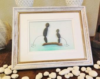 "Pebble Art  "" The Boys"" Gift Beach Decor Stone Rock People"
