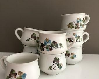 Set of EIGHT Denby Shamrock Cups