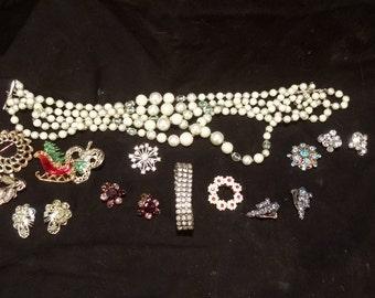 Jewelry, 40's,50's,60's, costume, rhinestone, pins, necklace, ear rings, broach, bracelet
