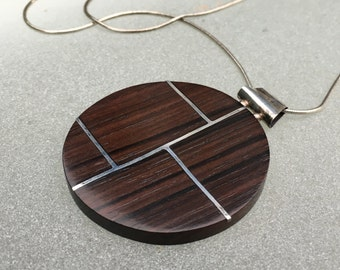 Ebony pendant with sterling inlay, mid century vibe, Italian sterling chain