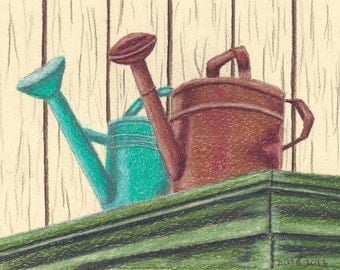 Watering Cans Pattern in colored pencil