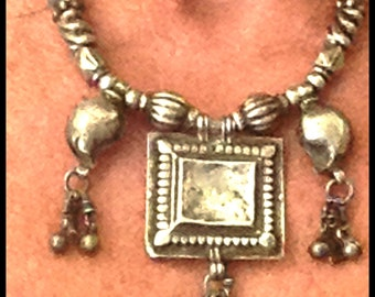 """Antique (1900) 925 Silver Necklace, Rajasthan India, 17"""", Handmade Unique, Initialed, Very Old Prayer Box Necklace, Uniquely lovely, 47G"""