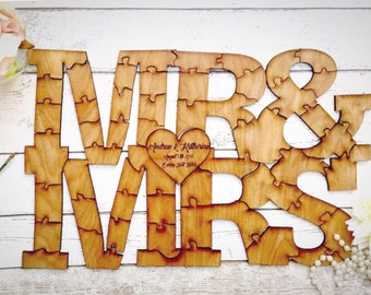 Rustic wedding guest book, Puzzle peice guest book , Guest book alternative, Shabby chic wedding, Rustic  wedding, Mrs and Mrs guestbook .