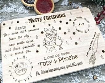Personalised  Santa plate, Wooden  milk and cookies tray, Santa tray, Treat tray , Night before Christmas tray.