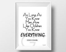 Chanel Quote As long as you, Fashion Wall Art, decor, decal decals, girl room, poster, inspire, motivational, girly quote, black and white