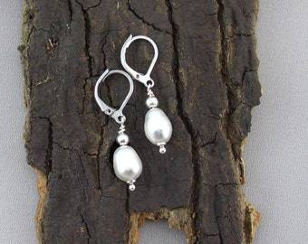 Silver beaded drop earrings