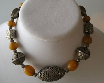 African amber necklace - Tribal necklace - Vintage necklace - Moroccan necklace - VJR332