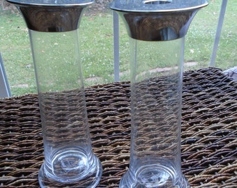 Vintage Ralph Lauren Glass and Stainless Steel Candle Stick Holders - 9 1/4 inches tall - excellent condition