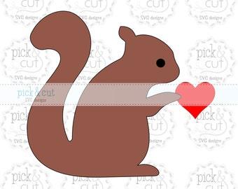 Valentine Squirrel SVG DXF EPS