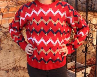 USA made red zigzag sweater