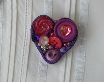 Button Heart Pin - Purple
