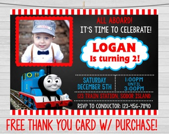 Thomas the Train Birthday Invitation, Thomas the Train Invitation with Photo, Thomas the Train Chalkboard Invitation, Printable Digital File
