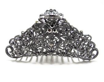 Black Austrian Crystal Hematite tone metal Bow hair claws clips pins