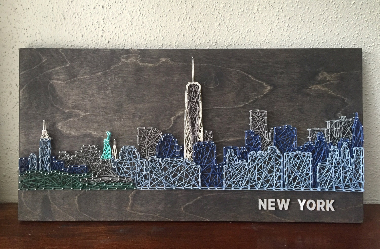 New york skyline string art lower manhattan new york art for Art and craft stores nyc