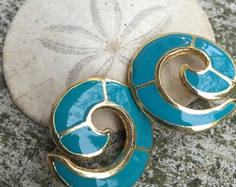 Turquoise and Gold Spiral Stud Earrings