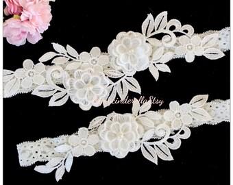 Off white wedding garter set Flower bridal garter flower garter set lace Bridal garter set Wedding garter set Keepsake Garter Toss Garter
