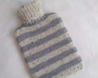 Handmde Knitted Hot Water Bottle Cover - Grey and Oatmeal Striped  (Hot Water Bottle Included)
