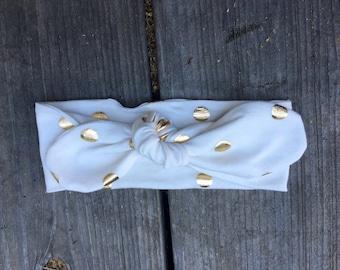 NEW Top Knot Adjustable  Stretch Gold Jersey Knit Headband Headwrap, Boho Infant Little Baby Girl Turban Headband,Toddler Big Bow Headband