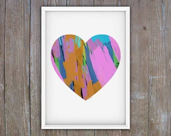 "Heart, Love, Colorful Heart, Painterly, Modern, Printable Art, Digital Print, Poster Size, 16"" x 20"", Wall Art"