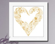 Printable Art Heart Gold, Printable poster, Wall art Gold Digital Download, Heart Gold, instant download, Golden Heart