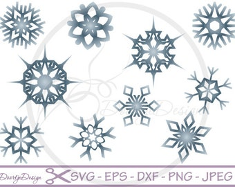 Snowflake SVG, Christmas SVG, Snow Cutting File, Snowflakes in Png format dxf and eps, cutting files, scan n cut files