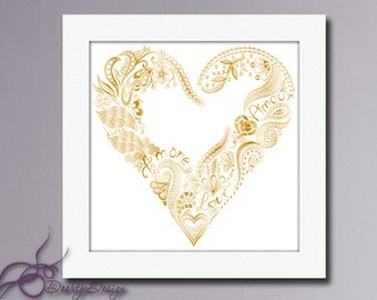 Printable Art Heart Gold, Printable Love, Printable poster, Wall art Gold Digital Download, Heart Gold, instant download, Golden Heart