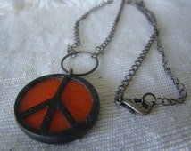 Peace Stained Glass Necklace Orange Vintage Stained Glass & Antiqued Metal - Artisan Made - One of a kind vintage