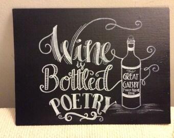 Wine is Bottled Poetry chalkboard art canvas