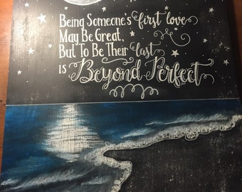 Moon Stars Beach Romantic Quote