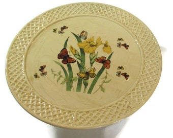 Enesco Butterfly Garden Trellis Cake Stand - Vintage 1970s Cake Stand