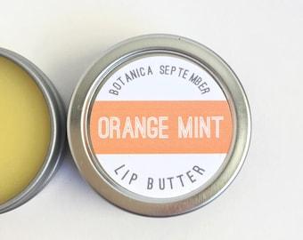 Orange Mint Lip Balm / Organic Lip Butter / All Natural Lip Care / Cocoa Butter Lip Balm / Orange Lip Butter / Mint Lip Balm / Lip Balm Tin