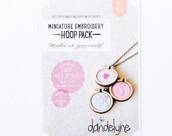 "DIY Mini Embroidery Hoops by Dandelyne- 3pk- 1.6""/4cm Hoops + *Necklace Chains & Bonus Brooch Backs*"