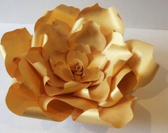 Gold giant Paper flower , Paper backdrop ,wedding flower backdrop,wedding backdrop,baby shower backdrop,large paper flower,gold paper flower