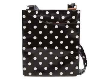 Oilcloth Crossbody bag - Polka dot bag - Black Ladies Purse- Black Ladies Handbag- Satchel - Oilcloth bag - Oil cloth bag - Laminated cotton