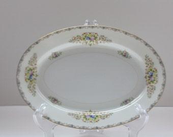 Imperial China Komatsu Serving Platter, Vintage Platter, Floral Pattern, Gold Accent Trim, 1950s, Oval Platter