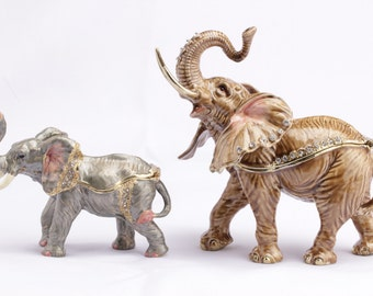 2 piece figure elephant with baby elephant as a jewelry box or pills can jewelry box collectible decoration Strass new
